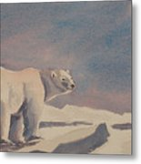 Solitary Polar Bear Metal Print
