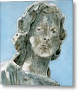Solitude. A Cemetery Statue Metal Print