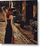 Soloist - Solitary Woman With Violin Metal Print