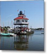 Solomons Island - Drum Point Lighthouse Reflecting Metal Print