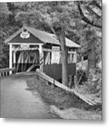 Somerset One Lane Bridge Black And White Metal Print