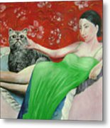 Sorcerer And Her Cat Metal Print