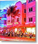 South Beach Neon Metal Print