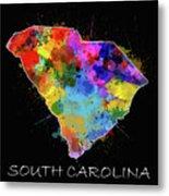 South Carolina Map Color Splatter 2 Metal Print