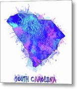 South Carolina Map Watercolor 2 Metal Print