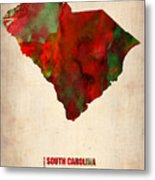 South Carolina Watercolor Map Metal Print