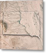 South Dakota State Usa 3d Render Topographic Map Neutral Border Metal Print