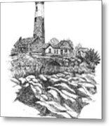 South Fork Lighthouse L I N Y  Bw Metal Print
