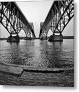 South Grand Island Bridge In Black And White Metal Print