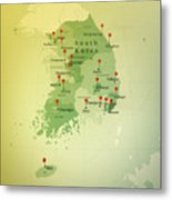 South Korea Map Square Cities Straight Pin Vintage Metal Print
