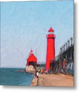 South Pier Of Grand Haven Metal Print