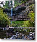 South Silver Falls With Bridge Metal Print