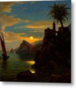 Southern Coastal View By Moonlight Metal Print