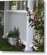 Southern Summer Flowers And Porch Metal Print