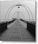 Southport Pier At Sunset With Walkway And Tram Lines Metal Print