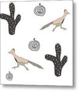 Southwest Design Roadrunner And Cactus Metal Print