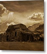 Southwest Navajo Rock House And Lightning  Metal Print