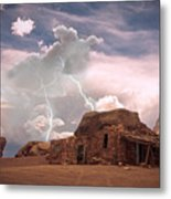 Southwest Navajo Rock House And Lightning Strikes Metal Print