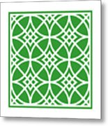 Southwestern Inspired With Border In Dublin Green Metal Print
