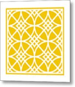 Southwestern Inspired With Border In Mustard Metal Print