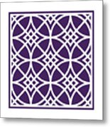 Southwestern Inspired With Border In Purple Metal Print