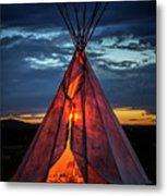 Southwestern Teepee Sunset Metal Print