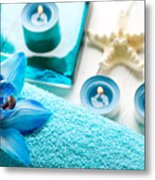 Spa Still Life With Towel And Candles Metal Print