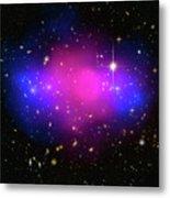 Space Image Galaxy Cluster Purple Blue Black Metal Print