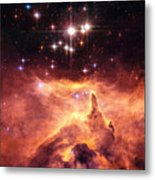 Space Image Orange And Red Star Cluster With Blue Stars Metal Print