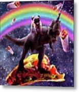 Space Pug Riding Dinosaur Unicorn - Taco And Burrito Metal Print