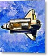 Space Shuttle In Space - Da Metal Print