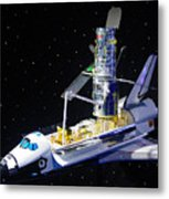 Space Shuttle With Hubble Telescope Metal Print