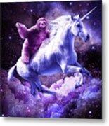 Space Sloth Riding On Unicorn Metal Print