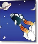 Space Travel Metal Print by Jane Rix