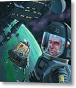 Spaceman With Space Station Orbiting Green Planet Metal Print