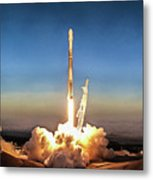 Spacex Iridium-5 Mission Falcon 9 Rocket Launch Metal Print