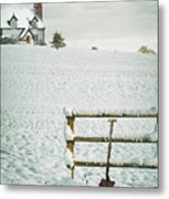 Spade Leaning Against Fence In The Snow Metal Print
