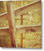 Spading Fork On Chicken Wire Fence Morning Sunlight Metal Print