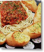 Spaghetti And Meat Sauce With Garlic Toast  Metal Print by Andee Design