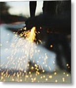 Sparks From Cutting Metal Metal Print