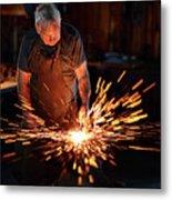Sparks When Blacksmith Hit Hot Iron Metal Print