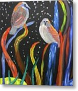 Sparrows Inspired By Chihuly Metal Print