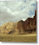 Sparse Tussock And Rock Formations In The Wadi Rum Desert Metal Print