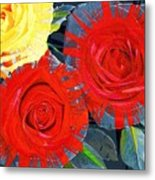 Spattered Colors On Roses Metal Print