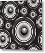 Speakers Over Black Metal Print