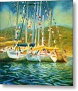 Spectator Boats At A Race Metal Print