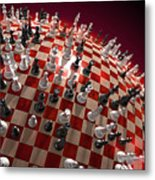 Spherical Chess Board World Metal Print