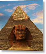 Sphinx And Pyramid Of Khafre Metal Print