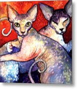 Sphynx Cats Sphinx Family Painting  Metal Print
