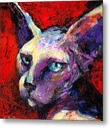 Sphynx Sphinx Cat Painting  Metal Print